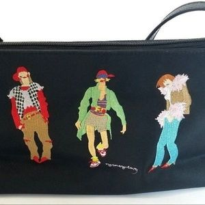 NWOT Sydney Love Black Embroidered Bag Purse Three
